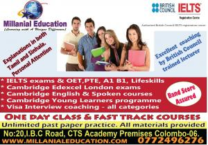 IELTS/ LIFESKILLS OET PTE SPOKEN ENGLISH & SINHALA