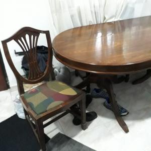 Solid Teak table and 6 chairs for sale in Mount lavinia