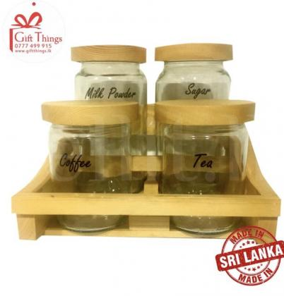 Wooden Coffee rack with glass jars and wooden lid, 2 level Milk Powder Tea Coffee and Sugar Bowls Kitchen organizer. house warming gift