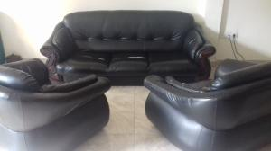 Used leather and fabric sofa set for sale